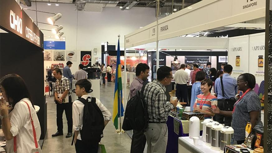The Rwandan stand at the 2017 International Coffee and Tea Expo in Singapore. (Courtesy)