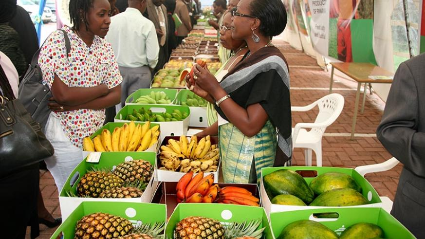 Rwandan farmers showcase their produce during a past agricultural exhibition. File.
