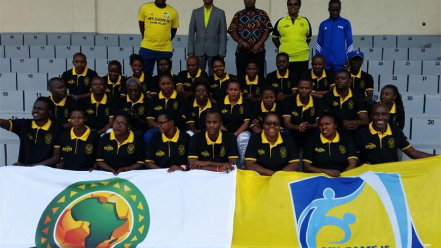 A group photo of beach soccer coaches and referees taking part in the training clinic in Rubavu District. / Courtesy