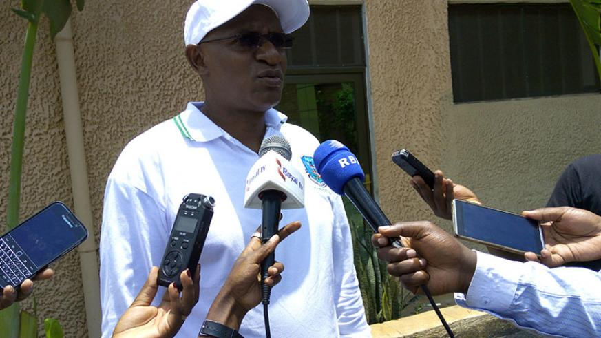 The Chairperson of Rwanda Council of Veterinary Doctors (RCVD), Dr. Francois Xavier Rusanganwa, speaking to the media at the sideline of the Council's general assembly in Kigali ye....