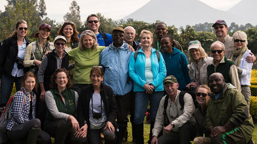Board, guides and staff of the Fossey Fund in a group photo.
