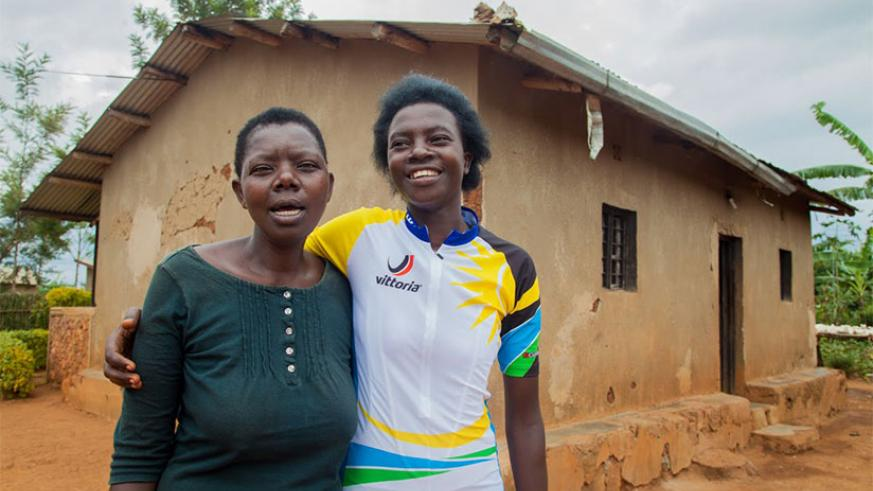 The documentary 'Fastest Woman in Africa' tells a story of Rwanda's first female cyclist Jeanne d'Arc Girubuntu (in the photo with her mother). / File