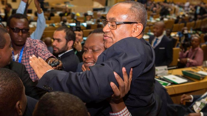 Ahmad Ahmad of Madagascar is given a lift after being elected the president of the Confederation of African Football in Addis Ababa on Thursday. Net photo.