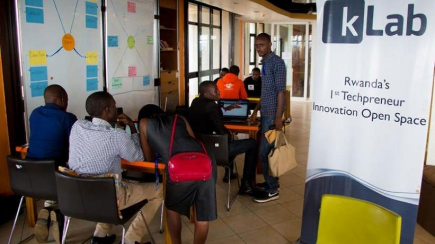 Some of the young tech enthusiasts at work at kLab in Kigali. File.