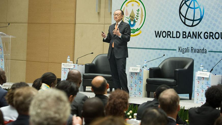 Dr Kim speaks during the meeting in Kigali yesterday. / Timothy Kisambira