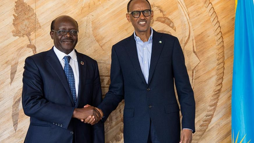 President Kagame welcomes Mukhisa Kituyi, secretary-general of the United Nations Conference on Trade and Development, to Village Urugwiro in Kigali yesterday. Kituyi said that Pre....