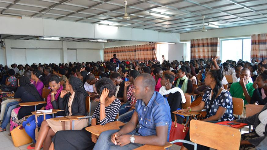 Students attend the public talk on election processes at University of Tourism and Business Studies in Kigali last week. / Francis Byaruhanga