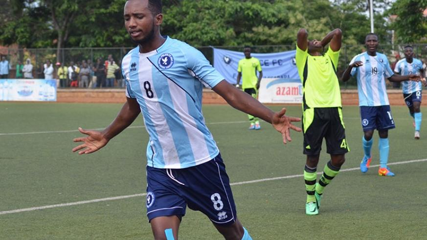 Justin Mico celebrates his goal against Gicumbi FC this season. The striker has so far netted 11 league goals in 21 matches for third-placed Police FC. (S. Ngendahimana)