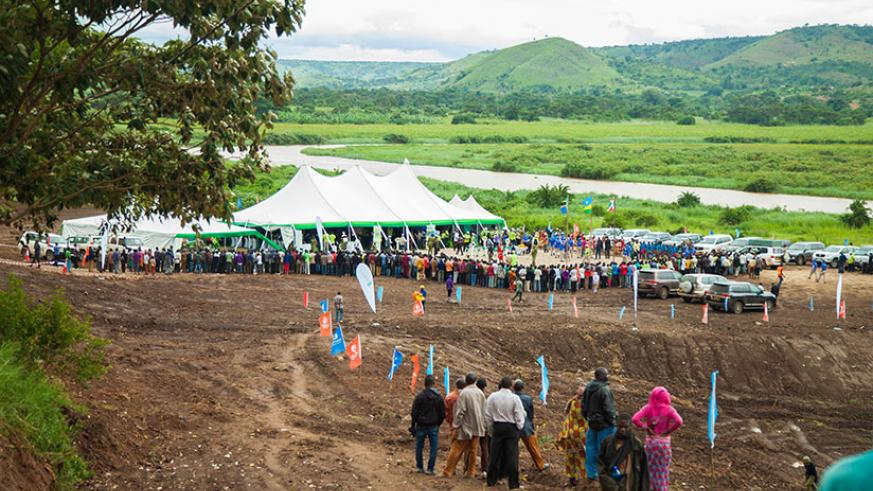 The ground-breaking ceremony for construction of the 80 MW regional Rusumo hydro-electric held on the banks of Akagera River in Ngara District, Tanzania. / Nadege Imbabazi