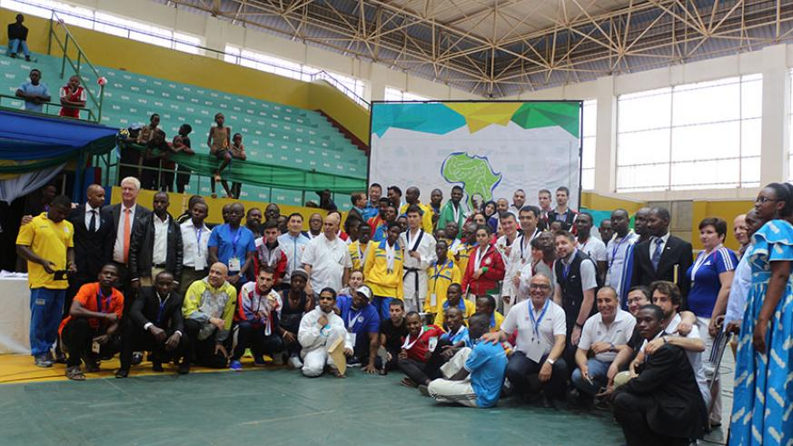 A group photo of all teams that participated in the two-day event after the closing ceremony on Sunday (Photos by Geoffrey Asiimwe)