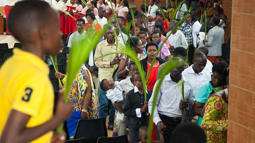 A section of the congregation after the Palm Sunday Mass at St Michel Catholic Church. Many Christians equated Christ's suffering, rejection and mockery to the pain afflicted on Ge....