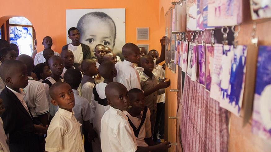 A group of children during a visit to the Kigali Genocide memorial last week. (File)
