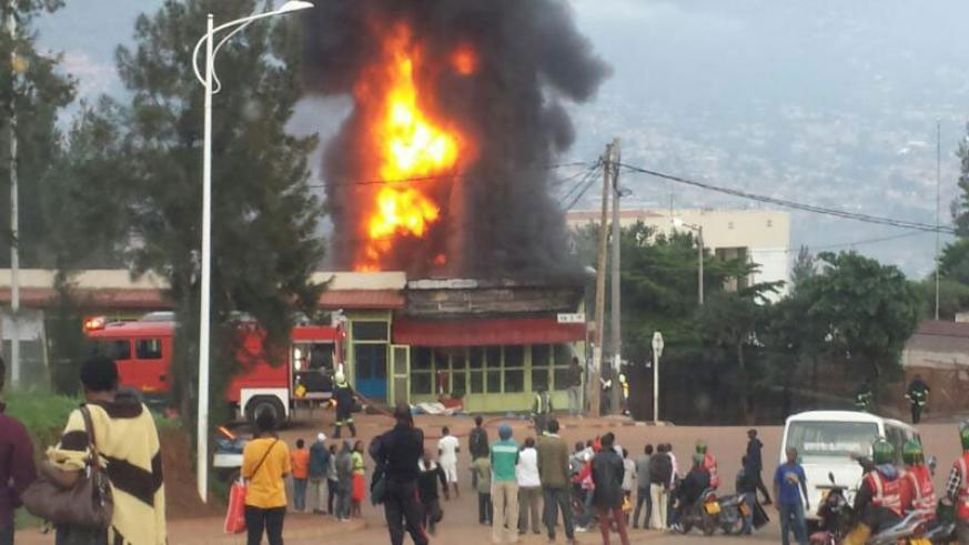 Fire guts the ill-fated building at Muhima in Kigali, yesterday. / Courtesy