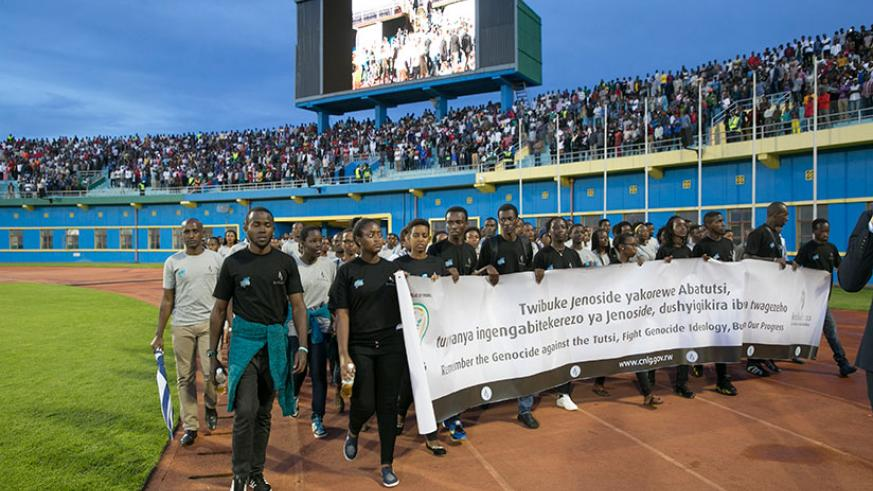 Youth during a Walk to Remember at Amahoro National Stadium in Remera on April 7. / File
