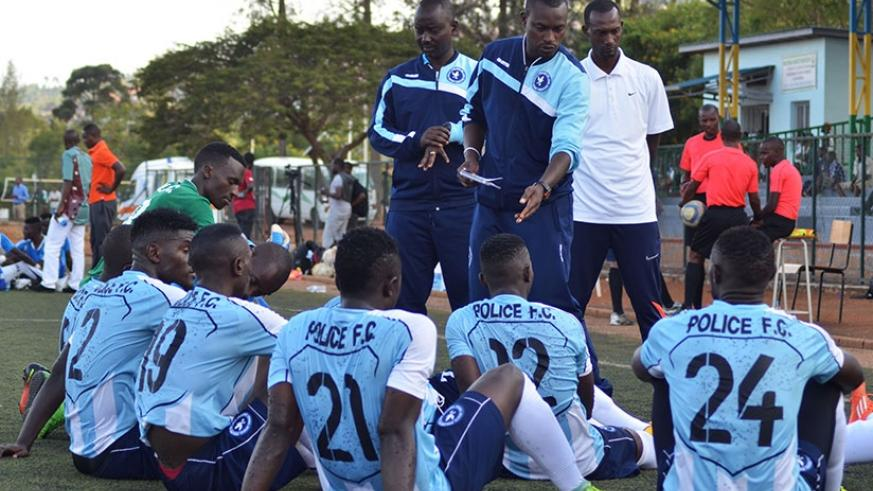 Innocent Seninga delivers half-time team talk during last week's league match against Pepineire FC at Kicukiro stadium. (Sam Ngendahimana)