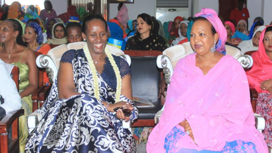 First Ladies Mrs Kadra Mahamoud Haid and Mrs Jeannette Kagame at the UNFD in Djibouti yesterday. (Courtesy)