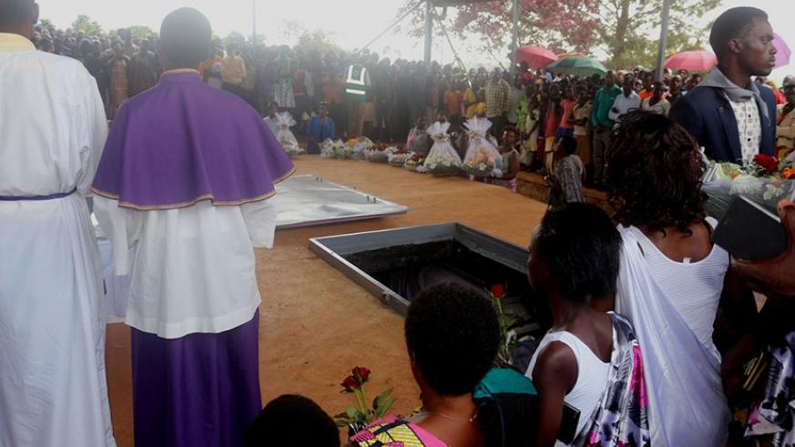 Mourners at Muyumbu Genocide memorial pay tribute to victims of the 1994 Genocide against the Tutsi last week. They also accorded 26 victims a decent burial. / Courtesy