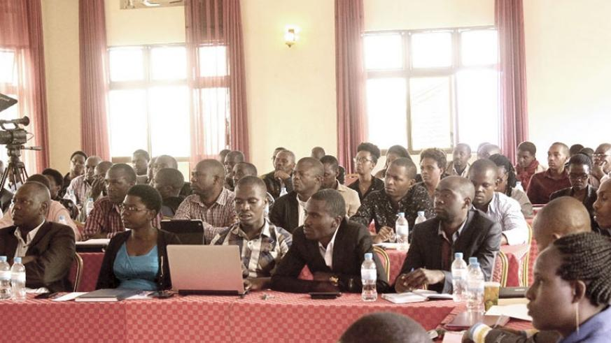 Some of the public notaries during the meeting in Kigali, on Thursday. Frederic Byumvuhore.