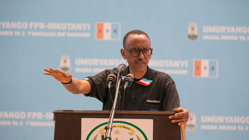 President Kagame, who is the chairman of RPF addressing the National Women league Congress yesterday. The President said women should never be apologetic when asking for their rig....