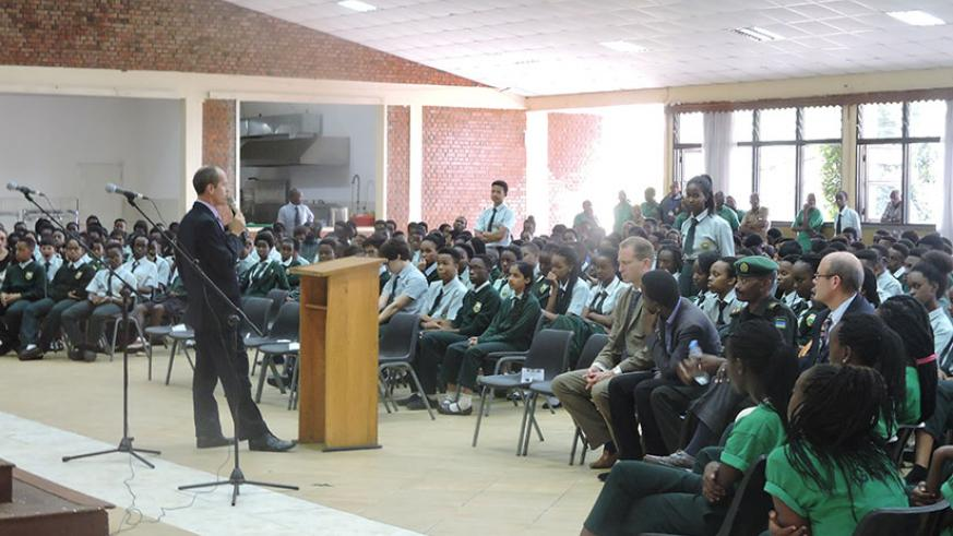 Green Hills Academy headteacher Alan Shanks speaks to the students during the commemoration event on Friday. / Courtesy