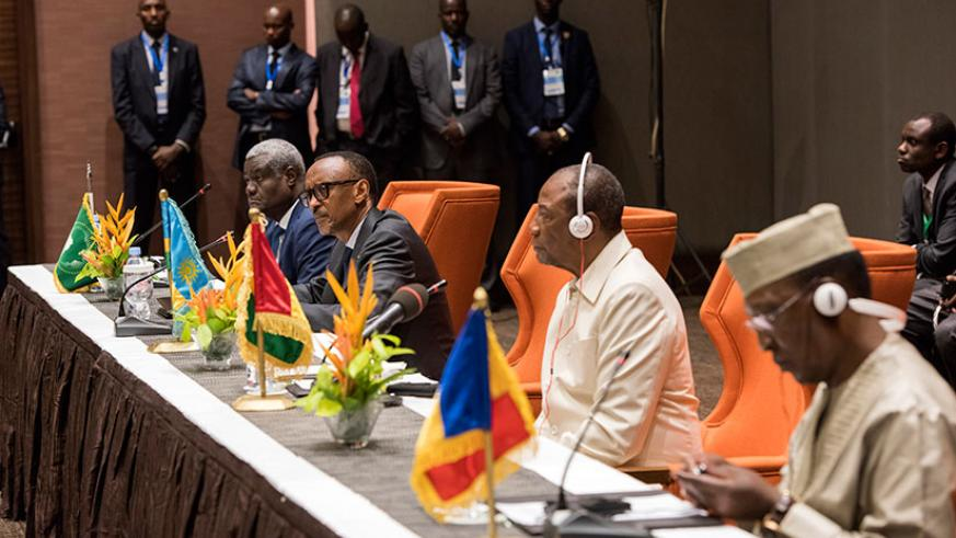 Presidents Kagame, Alpha Conde of Guinea (second-right) and Idriss Deby of Chad (right), and African Union Commission chairperson Moussa Faki Mahamat in Conakry, Guinea, yesterday,....