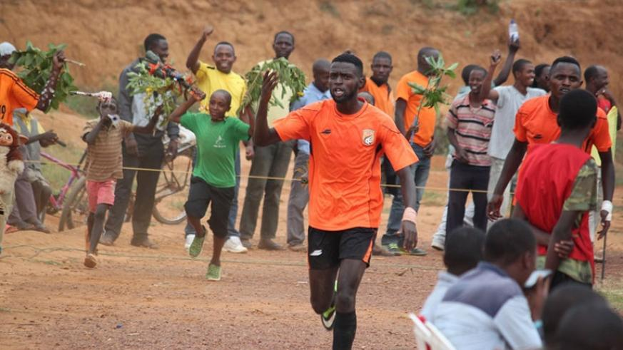 Bertrand Iradukunda, who netted a brace as Bugesera FC beat AS Muhanga 4-0 on Tuesday to advance to the Peace Cup quarter-finals. File photo