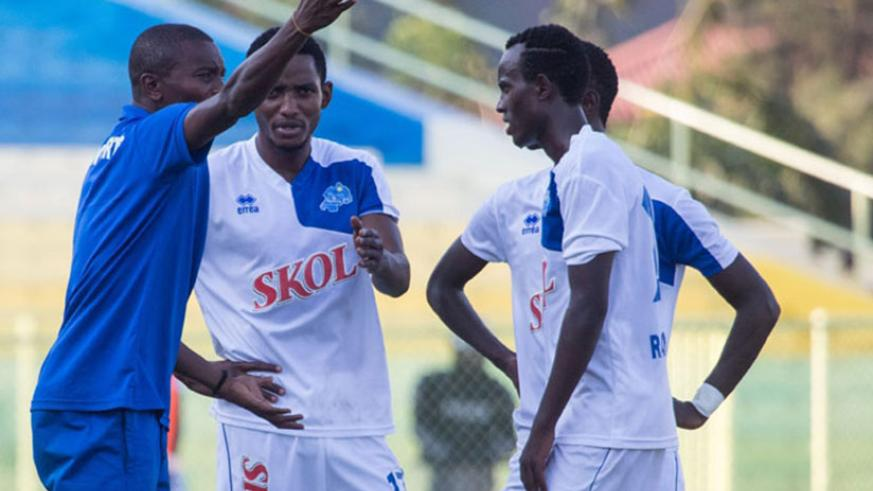 Rayon Sports coach Djuma Masudi barking instructions to his players on the touchline during a past match. The Blues are one leg into the next stage of the Peace Cup after a 2-0 vic....