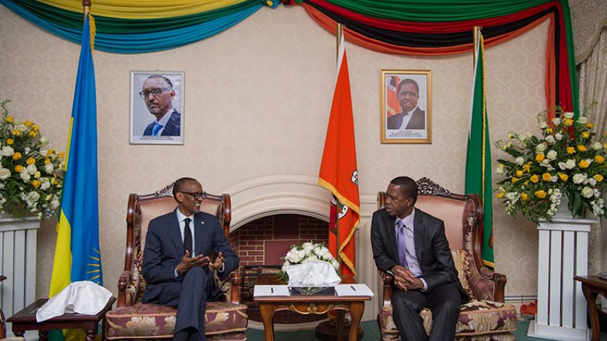 President Kagame meets with his host President Edgar Lungu of Zambia in Lusaka yesterday. The President has called on Rwandans living abroad as refugees to return back home. Kagame....