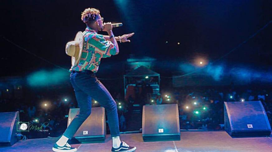 Mr Eazi on stage in Goma where he travelled through Kigali. He's set to stage a 'Liberation show' at Kigali Convention Centre today. / Courtesy