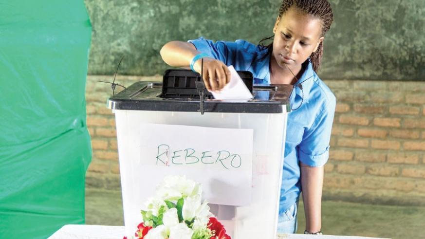 A resident of Rebero in Kigali casts her vote during a past local election. (File)