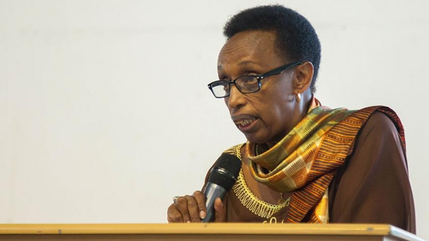 Dr Gasingirwa speaks during the conference in Kigali yesterday.(Nadege Imbabazi)