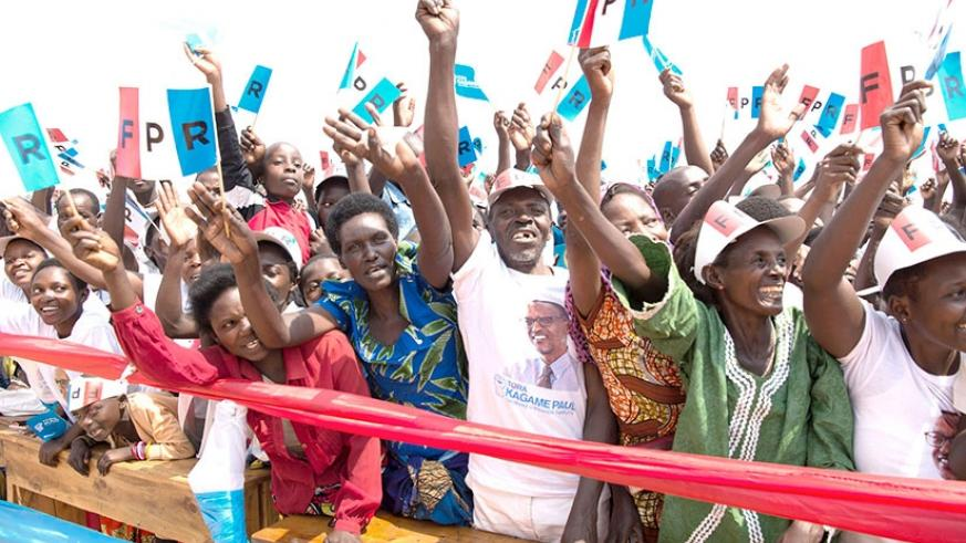 Some of the supporters of incumbent President Paul Kagame during his first presidential campaign rally in Ruhango District on Friday. Rwandans go to the polls on August 4. Courtesy.