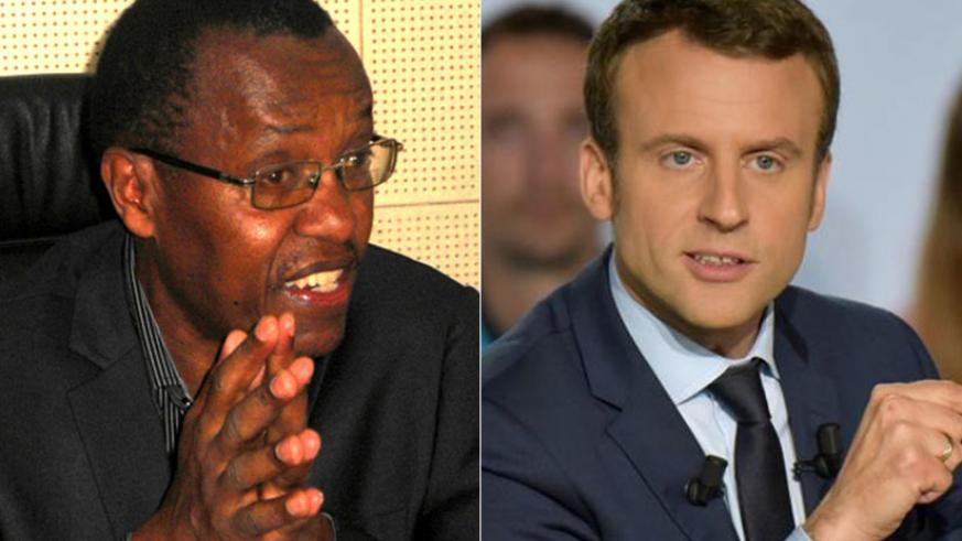 Prof. Bernard Rutikanga (L) disagrees with what French president Emmanuel Macron (R) who said Africa's problems are civilizational. / Internet photo