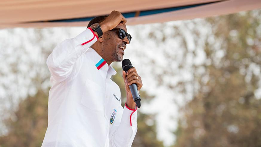 Incumbent President Kagame campaigns in Kirehe District yesterday. / Village Urugwiro