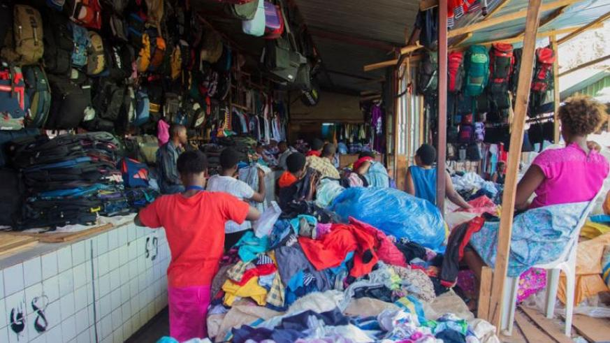 Second hand clothes and bags on display in Biryogo market, Kigali. File.
