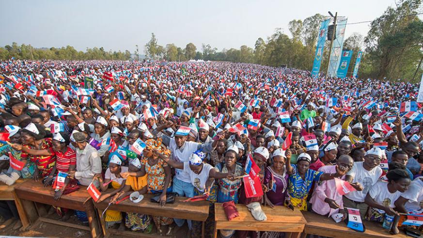 RPF presidential candidate Paul Kagame has attracted the biggest crowds of the 3 presidential candidates, with all rallies having more than 100.000 supporters. RPF spokesperson Wel....