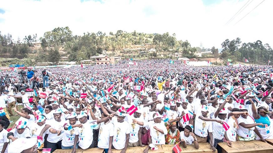 RPF supporters wait for Kagame's arrival in Burera District yesterday. Courtesy.