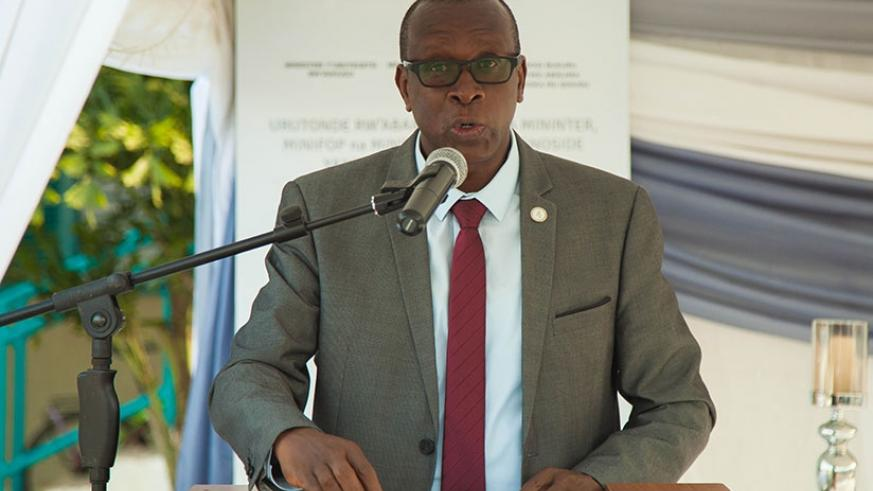 Dr Jean-Damascene Bizimana, the executive secretary of CNLG, speaks during a Genocide commemoration event in Kigali earlier this year. File