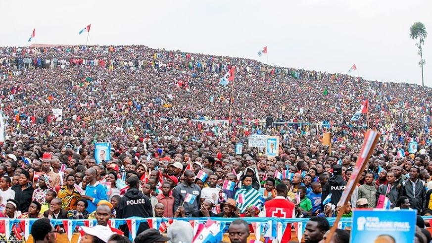 A mammoth crowd received RPF-Inkotanyi's presidential candidate and incumbent President Paul Kagame in Rubavu District on July 26. Courtesy.