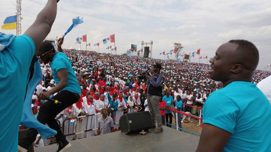 Local artistes entertain Kagame's supporters at his final rally in Bumbogo, Gasabo District Wednesday. (Photo by Athan Tashobya)