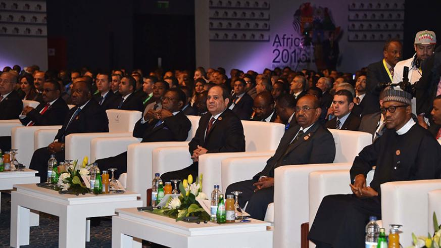 President Sisi (third right) and other African political and business leaders during last year's event. / Courtesy