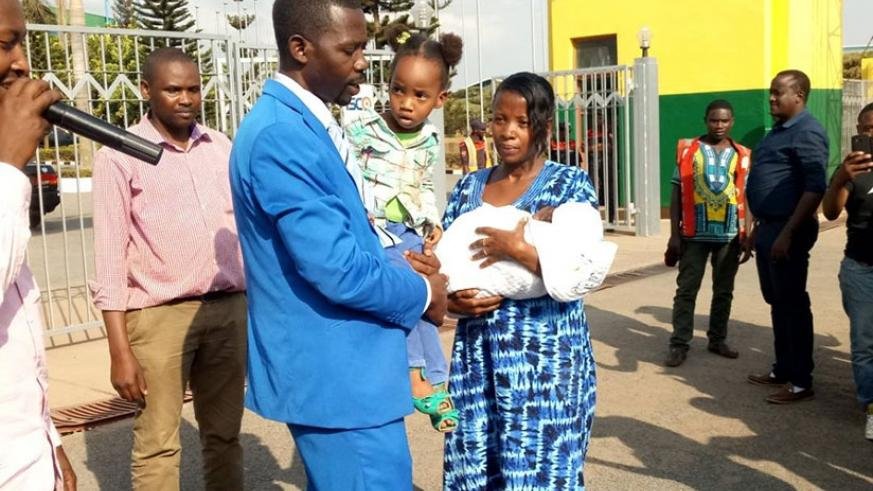Mpayimana with his family on the final day of the campaigns yesterday. He says his campaign was smooth. James Habimana