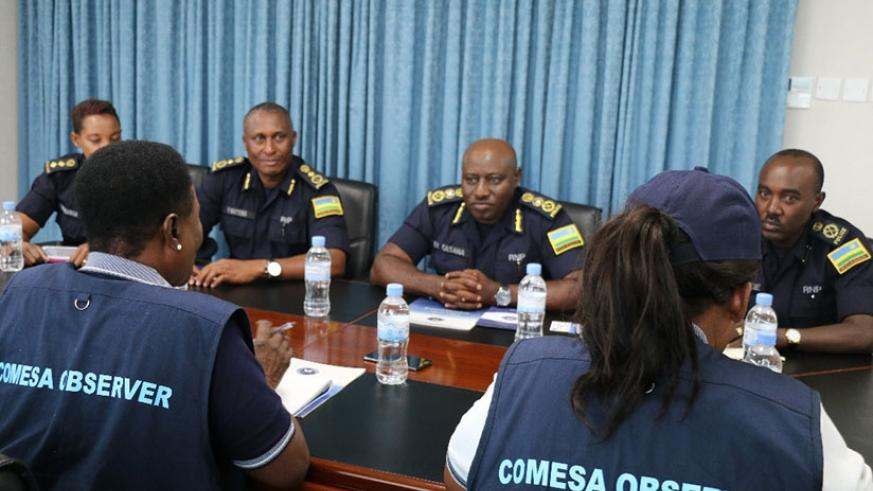 IGP Gasana with members of the Observer Mission from COMESA yesterday.