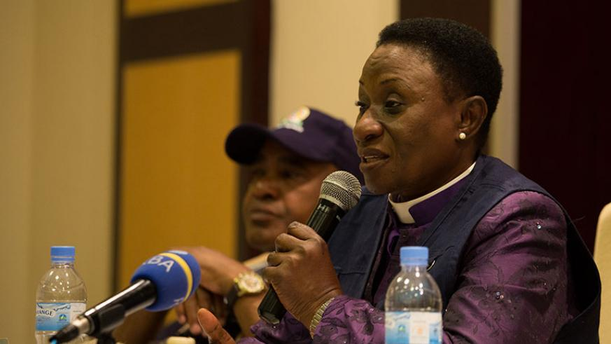 Bishop Mary Nkosi, the head of the COMESA elections observer mission, speaks to the media in Kigali, yesterday. Incumbent President Paul Kagame won Friday's vote by 98.63 per cent ....