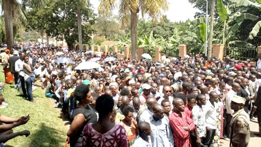 Rwandans in Uganda turned up in big numbers to cast their vote on Thursday. File