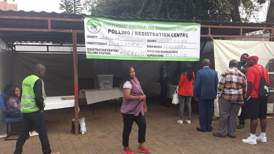 Kenyans living in Rwanda queuing at the country's High Commission in Kigali to cast the vote (Photos by Elisee Mpirwa)