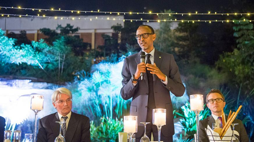 President Kagame speaks during the Umubano Project 10th Anniversary Dinner on Friday evening at Marriott Hotel. On his right is former British International Development Secretary A....