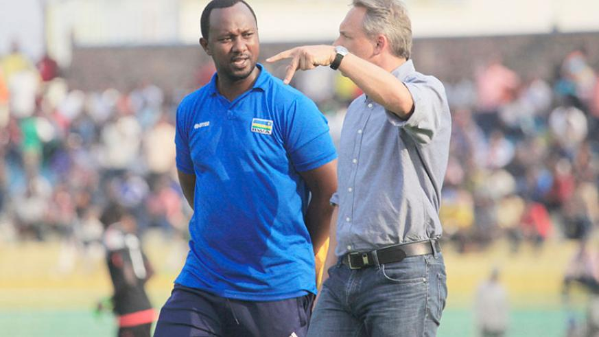 Amavubi head coach Antoine Hey and his assistant Vincent Mashami will have their hands full against Uganda in the second leg. Rwanda lost 3-0 on Saturday in Kampala. / Sam Ngendahimana