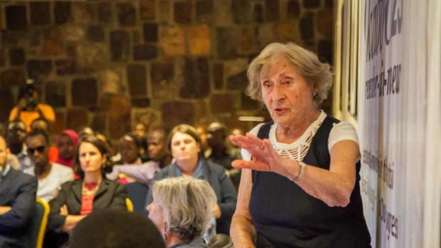 Holocaust survivor Susan Pollack shares her emotional testimony of how she survived Holocaust to 50 young genocide survivors from members of survivors associations in Rwanda. / Nad....