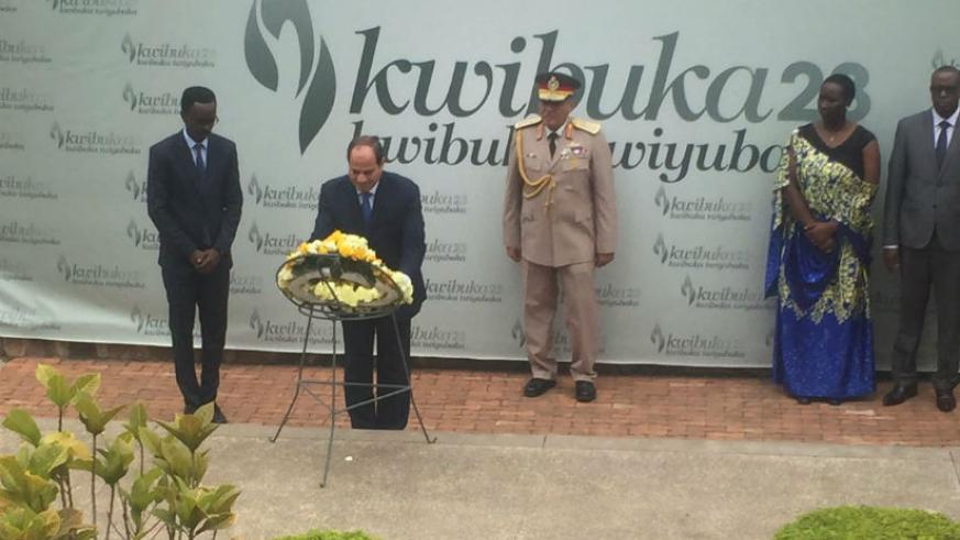 President Sisi of Egypt lays wreath in remembrance of the victims of the Genocide against the Tutsi. / Courtesy photo